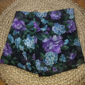 Vintage Black Purple Blue Floral Silk Scarf